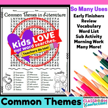 theme activity theme word search theme vocabulary by elementary