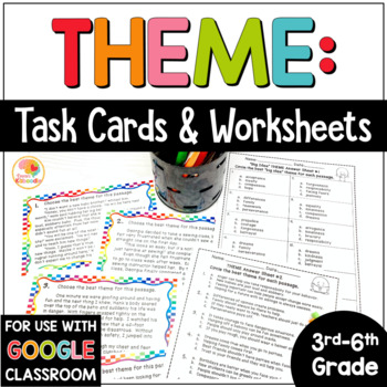 Theme Task Cards and No Prep Printables