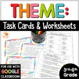 Theme Task Cards and No Prep Printables: Practice Finding the Theme