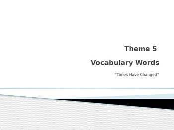 Rigby vocabulary Theme 5