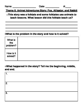 Theme 6: Animal Adventures Differentiated Reading Comprehension Questions