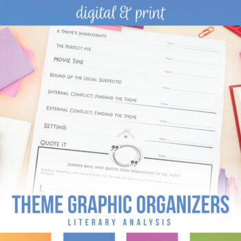 Theme Graphic Organizers for Any Novel or Short Story
