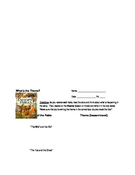 Theme Activity - Fables, Worksheet, and Answer Key!