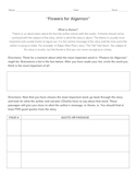 Theme Activity/Worksheet  (Flowers for Algernon or Other Works)