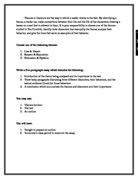 High School Essay Example Theme Analysis Essay Sample Business Essay also Essay Thesis Statement Example Theme Analysis Essay By Katie Richardson  Teachers Pay Teachers English Essay Example