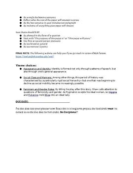 Pygmalion Theme Analysis Paper