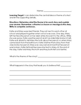 Reading Assessment- Identify Theme