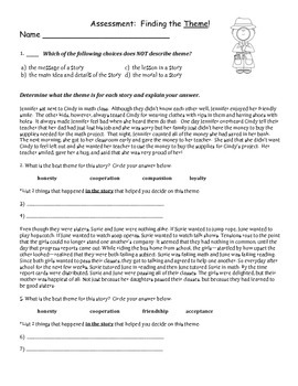 Theme Assessment (4th Grade Common Core)