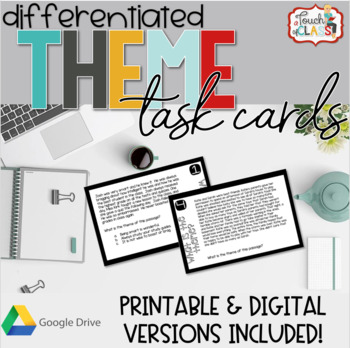 Distance Learning Printable & Google Slides THEME / AUTHORS MESSAGE Task Cards