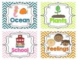 Theme Based Book Bin Labels