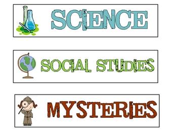 Theme Book Basket Labels