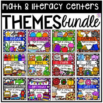 Theme Math and Literacy Centers BUNDLE for Preschool, Pre-K, TK, & Kindergarten