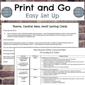 Theme, Central Idea, Motif Sorting Game for Grades 6-10