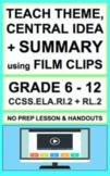 Theme & Central Idea with VIDEO: NO PREP Lesson & Activiti