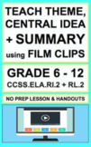 Theme and Central Idea with Video NO PREP Lesson & Activities CCSS.RL.2 & RI.2