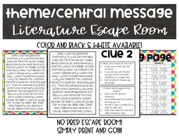 Theme/Central Message Literature Escape Room