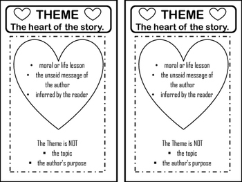 Theme Chart for Reading Interactive Notebook - Heart of the Story