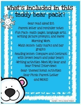 Theme Day Series: Decem-BEAR Day Pack- Teddy Bear Fun in December or anytime!