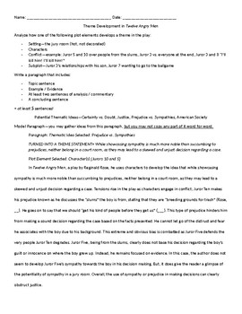 Theme Development in Twelve Angry Men Analysis Paragraph