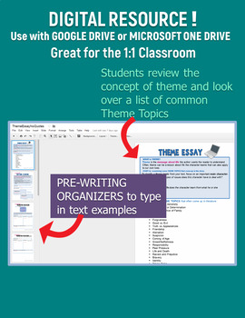 Theme Essay DIGITAL for Google or Microsoft - for ANY Literature Common Core