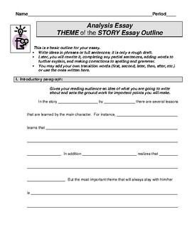 Theme Essay Outline Worksheet By Mz S English Teacher