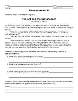Theme Graphic Organizer and Worksheets