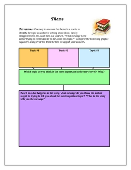 Theme Graphic Organizers - Can be used with any story/novel