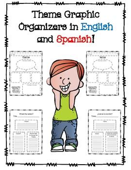 Theme Graphic Organizers in English and Spanish!