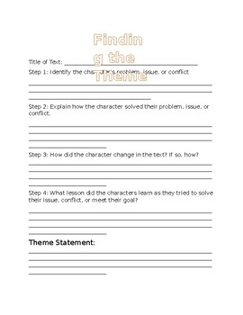 Theme Guided  Reading Activity
