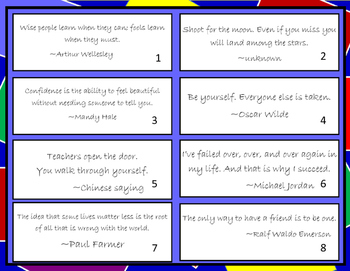 Theme: Inspirational Quotes Sort/Task Cards