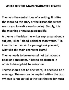Theme Is The Central Idea Of Writing