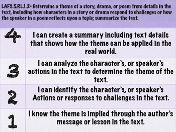 Theme Learning Scale for 5th grade