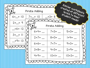 Theme Math Worksheets - Pirate Math