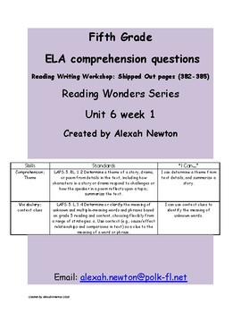 Theme- McGraw Hill Reading Wonders Series RWW U6W1