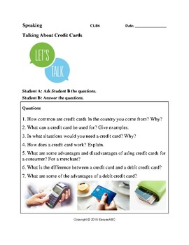 Theme: Money and Banking - Speaking Activity on Credit Cards for LINC/ESL: CLB 6