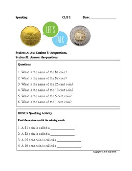 Theme: Money and Banking- Speaking for LINC/ESL : CLB 1