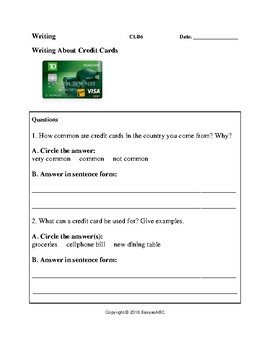 Theme: Money and Banking - Writing Activity on Credit Cards for LINC/ESL : CLB 6