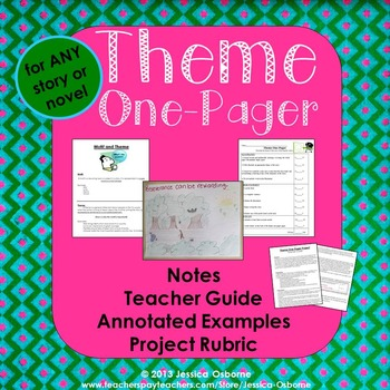 theme notes and one pager book project with examples and rubric tpt