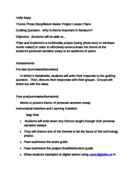 Theme Multimedia Photo Story Project Lesson Plans
