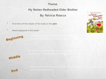 Theme: My Rotten Red headed older brother By:Patricia Polacco