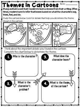Theme PRINTABLES: RL4.2 RL5.2 (Theme, Central Message/Idea, Lesson)