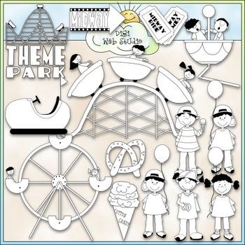 Theme Park - CU Clip Art & B&W Set