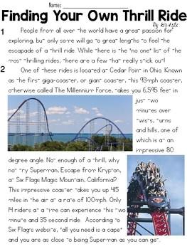 Theme Park Informational Text Sets - FSA/PARCC-Style Assessment Set