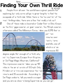 Theme Park Informational Text Sets - FSA/PARCC-Style Assessment Set