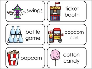 Theme Park Fun Picture Word Flash Cards.