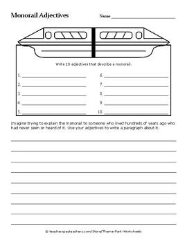 Theme Park Parts of Speech Worksheets | Nouns, Verbs, Adjectives, Adverbs