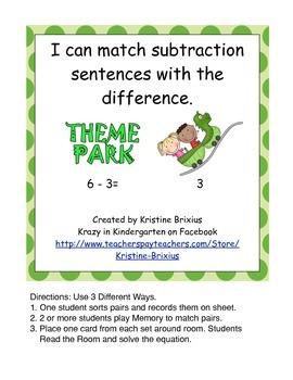 Theme Park Subtraction Match