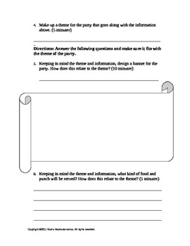 Theme Party Planner Activity Template and Rubric