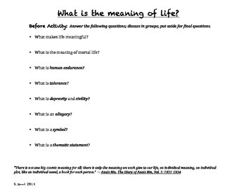 "Theme & Photograph Activity: ""What is the Meaning of Life?"""