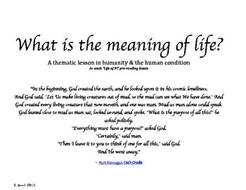"""Theme & Photograph Activity: """"What is the Meaning of Life?"""""""